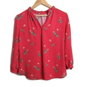 Loft Floral Top 3/4 Sleeves Size Medium Petite
